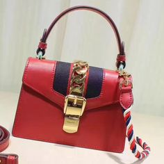 Gucci Sylvie Leather Mini Bag 470270 Size: cm Calf leather Blue/red nylon Web Gold toned hardware Nylon Web detail with metal cha. Gucci Handbags, Luxury Handbags, Gucci Sylvie Bag, Gucci Bags Outlet, Designer Bags For Less, Girls Bags, Luxury Bags, Bag Sale, Kylie Jenner