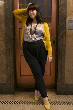 Frocksandfroufrou - yellow cardigan and black trousers