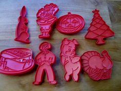Vintage cookie cutters by Tupperware - set of 8 Holiday Cookie Cutters.