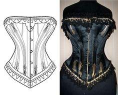 Ref g patron de corset ancien modèle 5x2 goussets - patron couture - Atelier Sylphe Corsets - Fait Maison