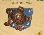 POCKET PINS adorable sea turtle polymer clay brooch, ooak