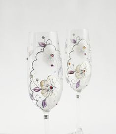 Wedding Toasting Champagne Cream and Purple by NevenaArtGlass, $58.90