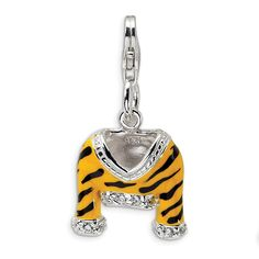 Sterling Silver CZ Polished Enamel Tiger Jacket w/Lobster Clasp Charm