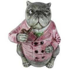 19th Century Majolica Large Smoking Bulldog Figural Tobacco Humidor   From a unique collection of antique and modern vases and vessels at https://www.1stdibs.com/furniture/decorative-objects/vases-vessels/