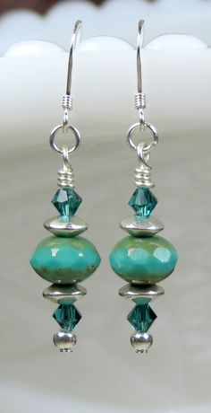 Stunning Aqua, Teal, Green Czech Glass Beaded and Crystals Sterling Silver Dainty Boho Dangle Earrings. These Earrings Would Make a Perfect Unique Gift or Something Special For Yourself, Buy Today.