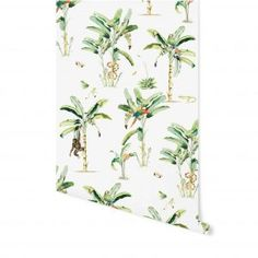 Trendy Wallpaper to brighten up your home. Fly with me – Wallpaper. Giraffe World – Wallpaper Parrot Wallpaper, Monkey Wallpaper, Palm Wallpaper, World Wallpaper, Tropical Wallpaper, Wallpaper Decor, Pattern Wallpaper, Tropical Style, Tropical Decor