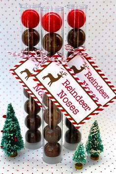 #Christmas #gifts #wrapping ideas #Reindeer noses ToniK ⓦⓡⓐⓟ ⓘⓣ ⓤⓟ #DIY #crafts Red  bloomdesignsonline.blogspot.com