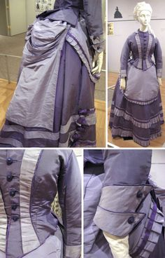 Circa 1868-1872 Ensemble, American (attr).  Dark and light purple silk taffeta. Fitted bodice with mauve collar and lapels down front and double fold-back cuffs. Purple skirt, gathered in back, has three mauve bands at hem; mauve over skirt with pleated bustle. Mauve apron with pleated ruffle. Via Kent State Univ.