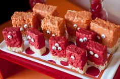 monster party: dip rice krispie bars in candy melts and add candy googly eyes