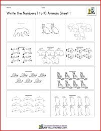 Count and write numbers 1 to 10 coloring sheet animals theme Pre K Worksheets, Printable Math Worksheets, Shapes Worksheets, Kindergarten Age, Kindergarten Math Worksheets, Math Resources, Primary Maths, Primary School, Numbers Preschool
