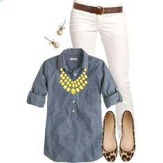 leopard flats, white pants, jean shirt, and statement necklace.