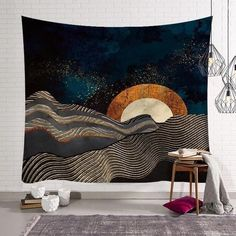 Art Sun Moon Tapestry Wall Hanging Nordic Style Tapestries Home Decor Blanket US