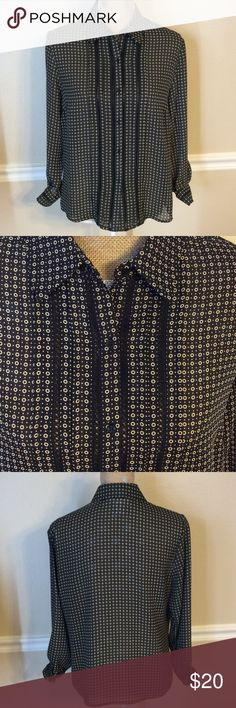 """Petite tuxedo style printed blouse Tuxedo style button-up blouse with black and beige dot print.  Perfect condition, never worn!  Bust measures 21"""" and length is 23"""".  100% polyester and machine wash and dry. Norton McNaughton Tops Blouses"""