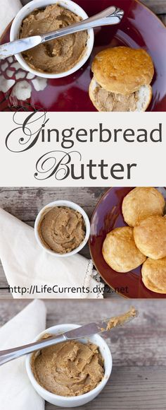 Gingerbread Butter - serve this sweet festive butter with biscuits, bagels, or fresh bread of any kind! Or, try it over roasted sweet potatoes. Pin now so you have this great and easy recipe during th (Easy Butter Biscuits) Flavored Butter, Homemade Butter, Butter Recipe, Homemade Biscuits, Homemade Gifts, Sauces, Dips, Butter Spread, Fresh Bread