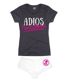 Look at this Heather Charcoal 'Adios Pantalones' Tee & White Hipster on #zulily today!