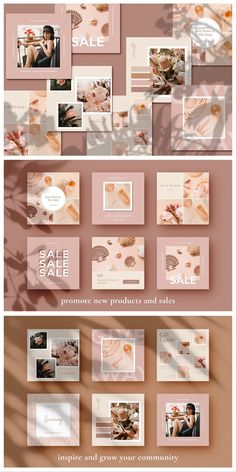 Soft pink and peachy Instagram marketing template pack for creative makers, online shop owners and Etsy sellers. Perfect for showcasing your products, running sales and engaging with the community. Created with CANVA users in mind, this content marketing pack will help you create pixel-perfect, professional social media images in minutes. You can customise the templates to suit your brand or use them as they are to create a consistent look every time you post. #socialmedia #marketing #ad Instagram Feed Ideas Posts, Instagram Feed Layout, Feeds Instagram, Instagram Grid, Pink Instagram, Instagram Post Template, Instagram Design, Animated Gifs, Social Media Design