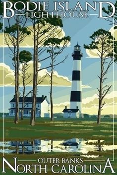 Bodie Island #Lighthouse - Outer Banks, #NC - Lantern Press Poster    http://www.roanokemyhomesweethome.com