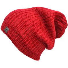 Red Mohair Style Knit Slouchy Beanie Cap Hat ($14) ❤ liked on Polyvore featuring accessories, hats, red, skull beanie, slouchy knit hat, knit skull cap, knit slouchy beanie, knit hat and red beanie hat