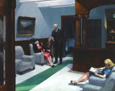Autor: Edward Hopper Estilo: Realismo americano Tema: Vida en la ciudad Título original: Hotel Lobby Tipo: Cuadro Técnica: Óleo Soporte: Lienzo Año: 1943 Se encuentra en: Museo de Arte de Indianápolis, USA