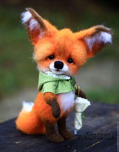 Купить Лисенок Жак - рыжий, лиса, лисенок игрушка, лисенок из шерсти, лис…