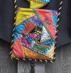 I ❤ crazy quilting . . .   Crazy Quilted Purse Detail- Silk duppioni fabrics with silk thread embroidery.