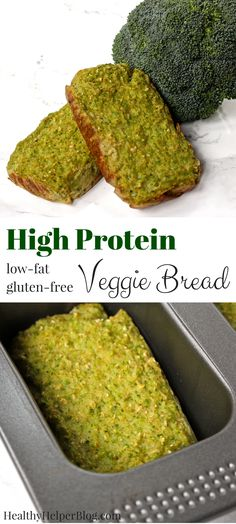 High Protein Veggie Bread [gluten-free + whole grain] - High Protein Veggie Bread from Healthy Helper…a super green snack bread that& gluten-free a - Veggie Loaf, Vegetable Bread, Vegetable Casserole, Low Calorie Bread, No Calorie Foods, Low Calorie High Protein, Healthy Low Calorie Snacks, Low Calorie Vegan, Low Carb