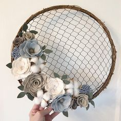 Made to order 14 Farmhouse Chicken Wire Wreath with