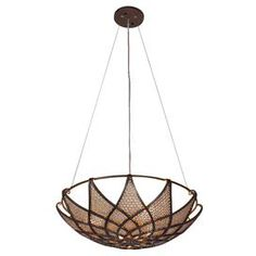 """Drawing inspiration from a classic fashion motif, this handsome pendant features bronze-finished ribs and desert pearl-stamped steel.    Product: Pendant  Construction Material: Steel and glass  Color: Bronze and pearl   Features: Low-VOC finish   Hand-forged steel has 70% or greater recycled conctent   Dimensions: 5.5"""" H x 20"""" Diameter  Accommodates:  (3) 100 Watt medium base bulbs - not included"""