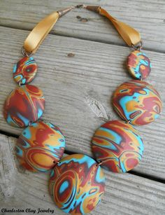 Navajo Series Necklace.  Handcrafted of Polymer Clay using the mokume gane technique.By Charleston Clay Jewelry and Studio. Artist Shannon Tabor