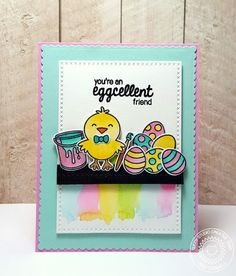 Sunny Studio: You're An Eggcellent Friend Easter Chick Card with Heidi (using A Good Egg stamps and dies)
