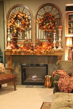 Our 2013 Fall Mantel AutumnColors HometalkTuesday Mantels and