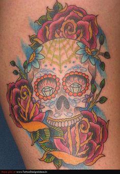 skull tattoo | Tatto design of Sugar Skull Tattoos sugar skull - TattooDesignsIdeas ...