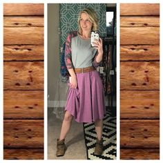 Madison skirt paired with Randy Tee, belt and booties! Lularoe Madison. Lularoe Randy. Lularoe Jen Surina.
