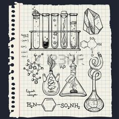geology: Hand drawn science beautiful vintage lab icons sketch set . Vector illustration. Back to School. Doodle lab equipment.Biology, geology alchemy, chemistry, magic, tattoo elements.