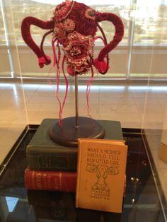 Installation, CSUSM. spring 2014.  The Velvet Uterus, and books.
