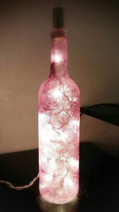 Homemade diy glitter bottle lamp glass art craft