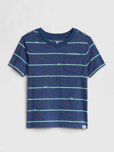 4201afeb5 Gap Baby Graphic Stripe Short Sleeve T-Shirt Chrome Blue Striped Shorts,  Stripes,