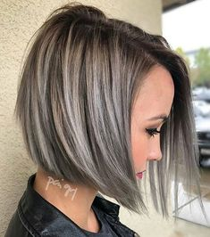 """Search Results for """"highlights for dark hair going grey highlights for dark hair going grey gray hair highlights gray highlights and silver hair highlights"""" Short Hair With Layers, Short Hair Cuts, Short Hair Styles, Pixie Cuts, Angled Bob With Layers, Short Hair Colors, Hair Color Ideas For Brunettes Short, Brown Hair With Silver Highlights, Brown Lob"""