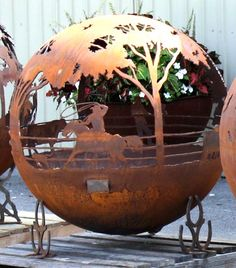 Roundup Ranch Themed Artisan Sphere Fire Pit - Cowboy Roping Calf - Horseshoe Base Option