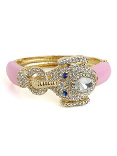 If you've still got a soft spot in your heart for Queen Celeste from tales of Babar, then you'll love this decidedly femme elephant bangle that sports a jaw dropping crystal and lovely pink enamel.