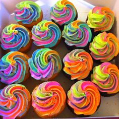 Tye dye cupcakes! Just carefully put 4-6 different bright colors of frosting into one bag with a star tip and pipe onto cupcakes. Fun!