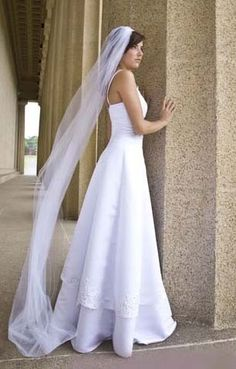 Cathedral wedding veil single layer , white, diamond white , ivory   80 inches long, 54 inches wide. $26.99, via Etsy.