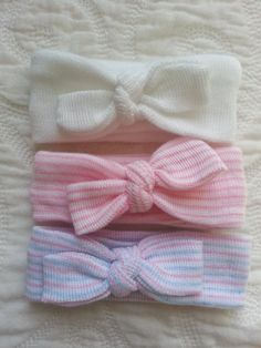 NEW ITEM!!! Hospital Newborn Headbands, Set of 3 Mini Headbands, Newborn's First Headbands, newborn girl hospital bow, hospital hat
