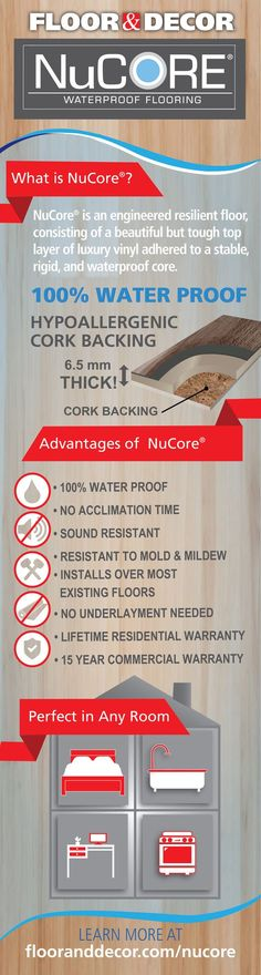 Web Photo Gallery NuCore waterproof flooring is a durable and practical option for any space Having