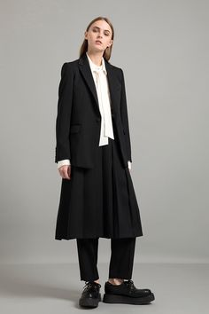 A/W Double Woven Doeskin Single Tailored Jacket Vintage Finished Shiffon Bow Collar Blouse Double Woven Doeskin Pleated Skirt Double Woven Doeskin Tapered Pants Tailored Jacket, Collar Blouse, Yohji Yamamoto, Pleated Skirt, Ready To Wear, Normcore, Mens Fashion, My Style, Skirts