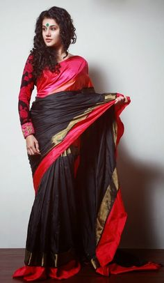 Butta Black, Pink & Red Embroidered Saree