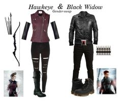 """Hawkeye & Black Widow gender-swap // Kazia"" by fictional-fandom-freak ❤ liked on Polyvore featuring River Island, IRO, Paul & Joe Sister, SELECTED, Rock Rebel, Forzieri, Lauren Ralph Lauren, Dr. Martens, Avengers and marvel"