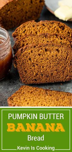 Pumpkin banana bread is moist, tender, and bursting with fall flavor. Make this recipe with pumpkin butter, then enjoy it all year long! Recipes With Yeast, Quick Bread Recipes, Easy Bread, Muffin Recipes, Yummy Recipes, Cake Recipes, Breakfast Recipes, Snack Recipes, Dessert Recipes