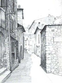 Example of one point perspective drawing on a street image: