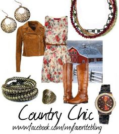 Country Chic with It's a Wrap bracelet, Old World earrings, sherbet necklace, Style Watch watch, Jasmine Ring. www.facebook.com/MyFavoriteBling